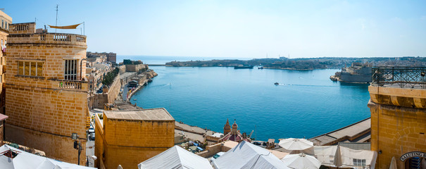 Panorama of Valletta bay, Malta