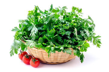 Parsley  isolated on a white background with tomatoes