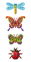Illustration plasticine figurines of insects