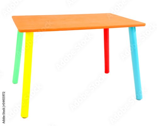Small and colorful table for little kids isolated on white