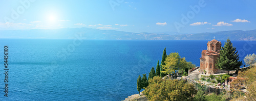 St. Jovan Kaneo church overlooking Ohrid lake, Macedonia on a su