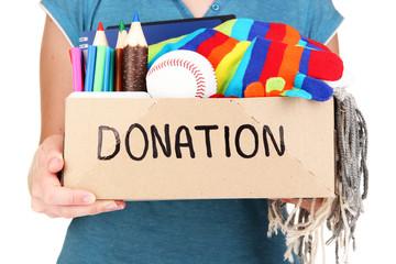 Donation box isolated on white
