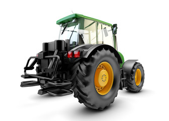 Backside of Modern powerful green farm tractor isolated on white