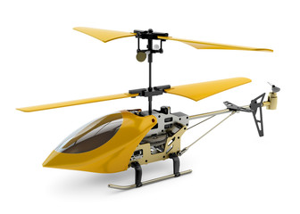 Generic yellow remote controlled helicopter isolated on white ba