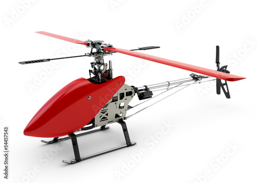 Generic red remote controlled helicopter isolated on white backg