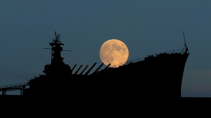 Alabama USS Alabama moonrise