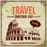 Vintage Travel Italy Colosseum in Rome vacation labels poster