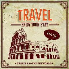 Vintage Travel Italy Colosseum in Rome vacation labels