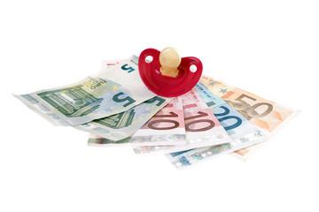 Geldscheine und Schnuller