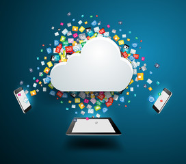 Vector cloud computing concept with colorful application icon