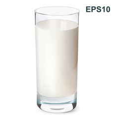 Glass of milk isolated on white. Vector illustration