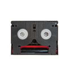 Mini DV cassettes on white background