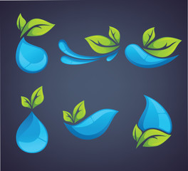 vector collection of water and leaves emblems and symbols on dar
