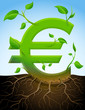 Growing euro symbol like plant with leaves and roots in ground