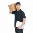 Young deliveryman at work.  Cheerful young deliveryman holding c