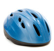 A blue bike helmet on a white background