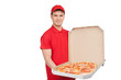 Our best pizza for you. Young cheerful pizza man holding an open