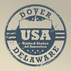 Grunge rubber stamp with name of Delaware, Dover, vector