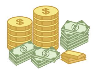 Cash and Gold Coin - Finance - Money - Treasure Cartoon