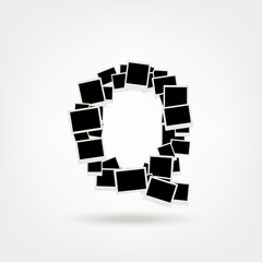 Letter Q made from photo frames, insert your photos