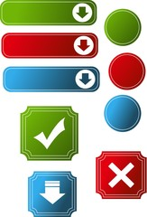 Set of color web buttons