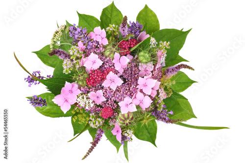 Staande foto Lavendel Strauß mit Hortensie und blühenden Kräutern