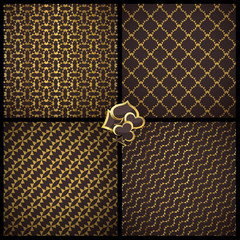 Collection of 4 seamless patterns. Vector gambling set.