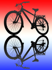 Bike isolated a colorful background with reflection.