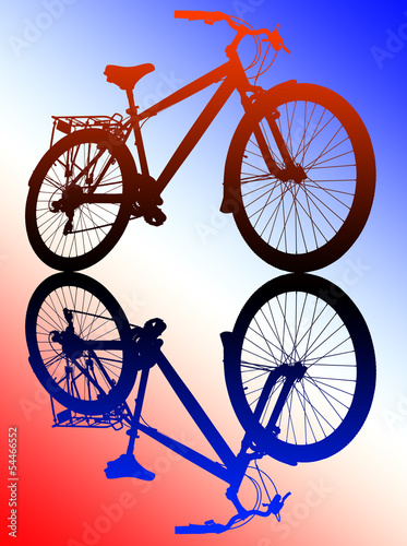 Silhouette bike isolated a colorful background with reflection.