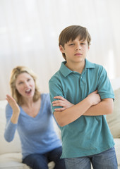 Son Ignoring Angry Mother At Home