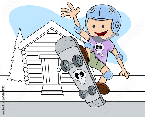 Skateboarding - Kids - Vector Illustration