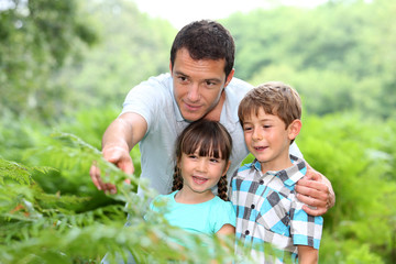Man in forest showing plants to kids
