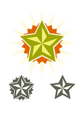 Set of vector stars, design elements
