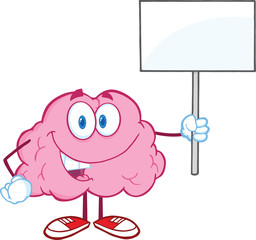 Happy Brain Character Holding Up A Blank Sign