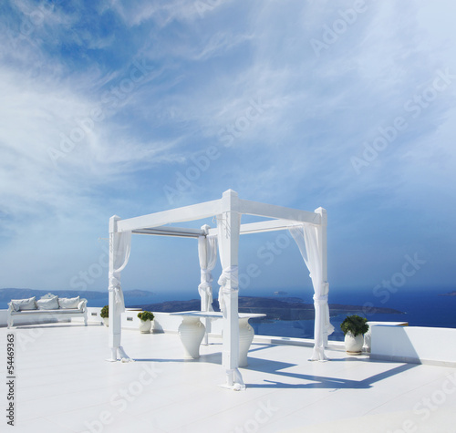 Beautiful wedding tent on the Santorini island, Greece