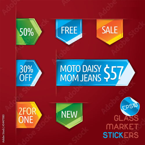 Glass Market Stickers Illustration, Icons, Button