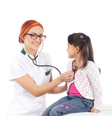 Attractive young female doctor examining a little girl