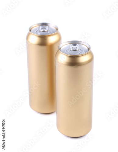 Blanks aluminum and golden soda cans