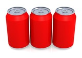Three red soda can
