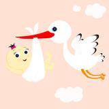 stork and girl