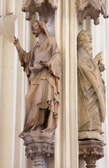 Vienna -  Statue of  saints from gothic church Maria am Gestade