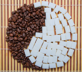 The composition of the coffee and sugar as yin and yang