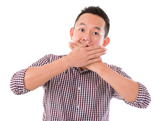 Asian man with big surprise expression