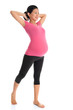 Asian pregnant woman doing yoga stretching