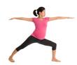 Asian pregnant yoga class.