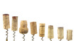 collection of wine corks, isolated on white background