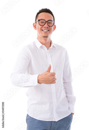 Thumb up Asian man