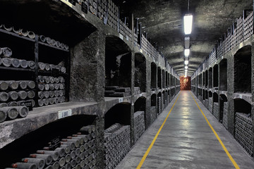 Perspective view of old wine cellar