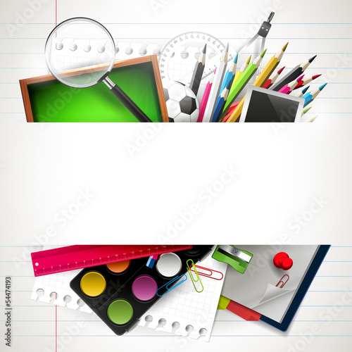 School background with school supplies and copyspace