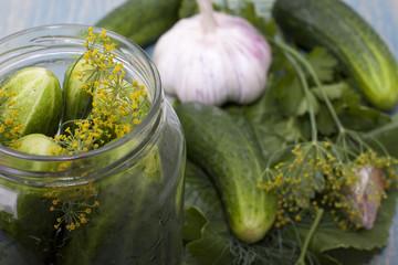 Canning cucumbers.